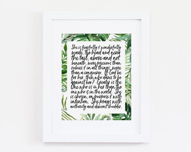 She Is Fearfully & Wonderfully Made | Psalm 139:14 | Christian Printables | Bible Verse Wall Art | Christian Gifts | Scripture Decor | Wondrous Works | Etsy | Black and White | Christian Gifts For Her | Green