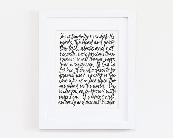 Christian Gifts | Christian Wall Art | She is fearfully and wonderfully made | [theme] | [occasion]  | [colour] |