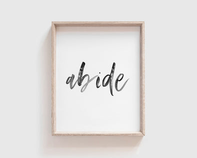 Abide | Christian Printables | Bible Verse Wall Art | Christian Gifts | Scripture Decor | Wondrous Works | Etsy | Instant Downloads | Digital Downloads | Bible Calligraphy | 8 x 10 | Black and White
