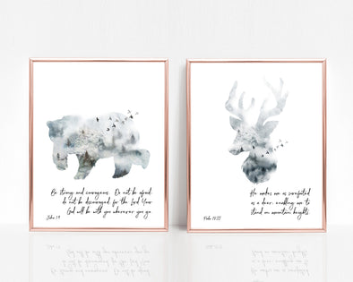 Christian Gifts | Christian Wall Art | Joshua 1:9 and Psalm 18:33 | [theme] | [occasion]  | [colour] |