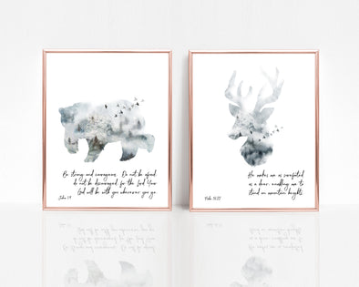 Joshua 1:9 | Psalm 18:33 | Be Strong And Courageous | He Makes My Feet Like Deer | Hinds | Christian Printables | Bible Verse Wall Art | Christian Gifts | Scripture Decor | Wondrous Works | Etsy | Set of Two | Christian Nursery | Dedication Gifts | Blue | Bear | Deer