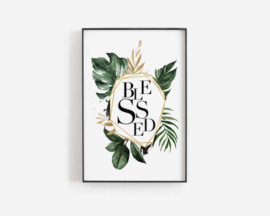 Blessed | Christian Printables | Bible Verse Wall Art | Christian Gifts | Scripture Decor | Wondrous Works | Etsy | Black and White | Tropical | 4 x 6 | 5 x 7 | 8 x 10 | 8 x 12 | 11 x 14 | 16 x 20 | 20 x 30 | 24 x 36