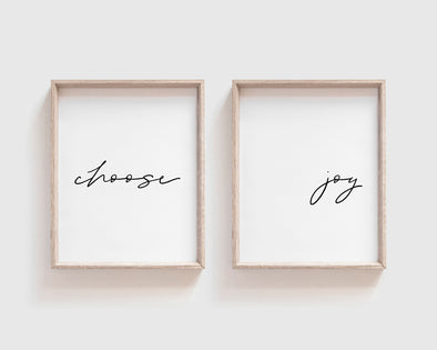 Choose Joy | Christian Printables | Bible Verse Wall Art | Christian Gifts | Scripture Decor | Wondrous Works | Etsy | Black And White | Printable Set Of Two