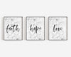 Faith Hope Love | Christian Printables | Bible Verse Wall Art | Christian Gifts | Scripture Decor | Wondrous Works | Etsy | Set Of Three | Grey