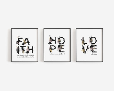 Faith Hope Love | Christian Printables | Bible Verse Wall Art | Christian Gifts | Scripture Decor | Wondrous Works | Etsy | Set Of Three