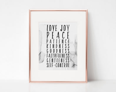 Galatians 5:22-23 Fruit of the Spirit | Love Joy Peace Patience | Christian Printables | Bible Verse Wall Art | Christian Gifts | Scripture Decor | Wondrous Works | Etsy | Christian Wedding Gifts | Grey