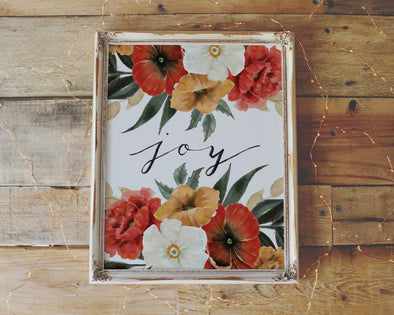 Joy | Christian Printables | Bible Verse Wall Art | Christian Gifts | Scripture Decor | Wondrous Works | Etsy | Red | Floral
