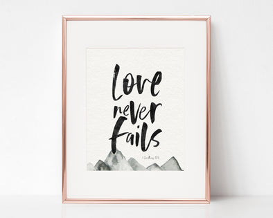 Christian Gifts | Christian Wall Art | 1 Corinthians 13:8 Love Never Fails | [theme] | [occasion]  | [colour] |
