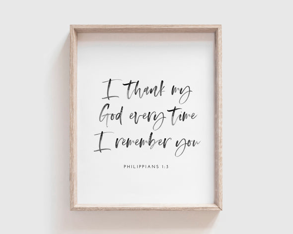 Christian Gifts | Christian Wall Art | Philippians 1:3 | [theme] | [occasion]  | [colour] |