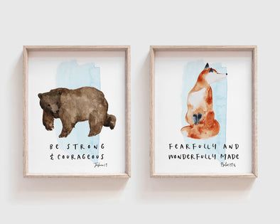Joshua 1 9 | Psalm 139 14 | Christian Gifts | Christian Wall Art | Dedication | Baptism for boys | Bear | Fox