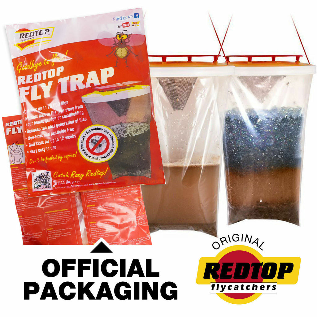 Fly Bag Trap RED TOP CATCHER Kills 20,000 Flies Insects Pest Control Killer x 1