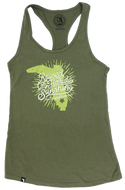 RAISED ON FLORIDA SUNSHINE- MILITARY GREEN- LADIES RACER BACK TANK TOP