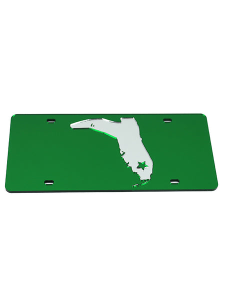 GREEN/CHROME LICENSE PLATE