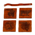 LEATHER COASTER SET 4- COWS, SALTWATER, SUNSHINE, BADGE