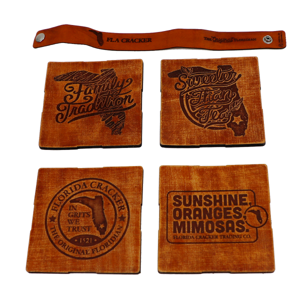 LEATHER COASTER SET 4- TEA, MIMOSA, SUNSHINE, BADGE