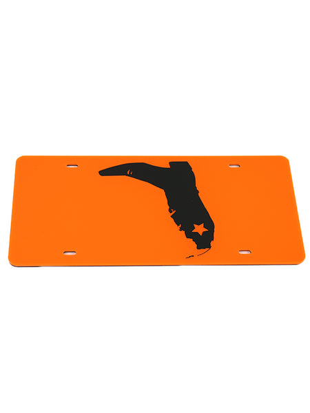 NEON ORANGE/BLACK BOOT LOGO LICENSE PLATE