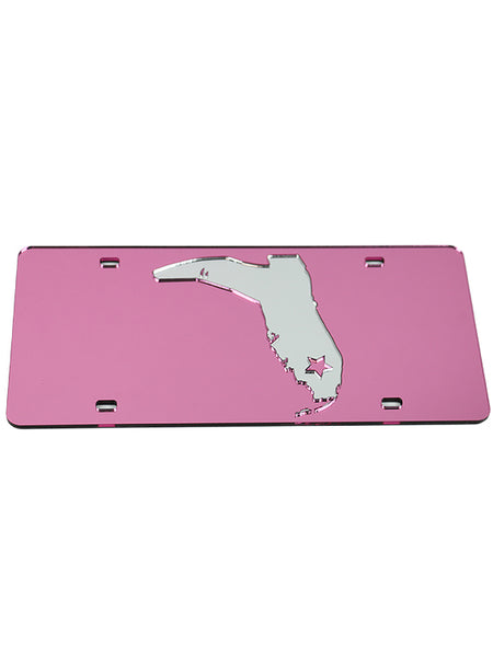 PINK/CHROME LICENSE PLATE