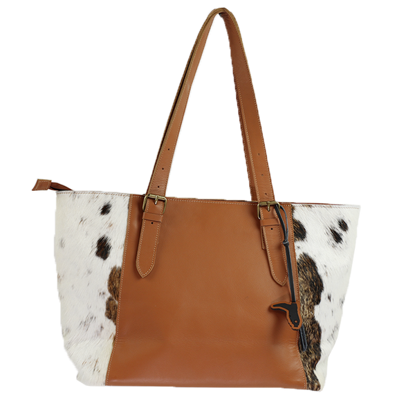 RANCHER- HANDMADE LARGE LEATHER & COWHIDE TOTE