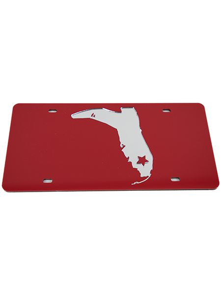 RED/CHROME LICENSE PLATE