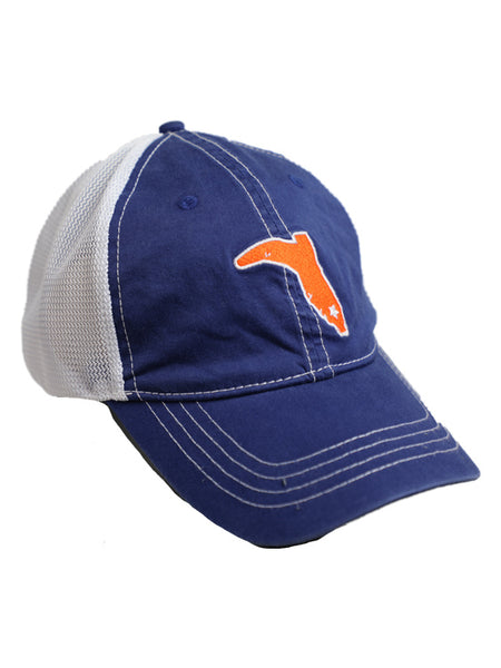 LADIES' PONYTAIL ROYAL BLUE AND IVORY VINTAGE TRUCKER SNAPBACK HAT