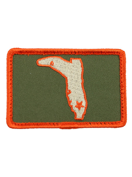 OLIVE GREEN & ORANGE SQUARE VELCRO PATCH