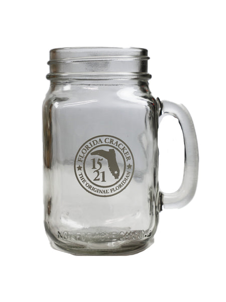 BADGE MASON JAR W/HANDLE 16OZ