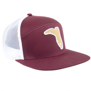 6 PANEL MAROON / WHITE MESH GOLD BOOT