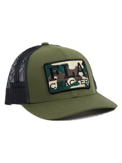 FLA Patch Trucker Hat-Moss Green/Charcoal Camo patch
