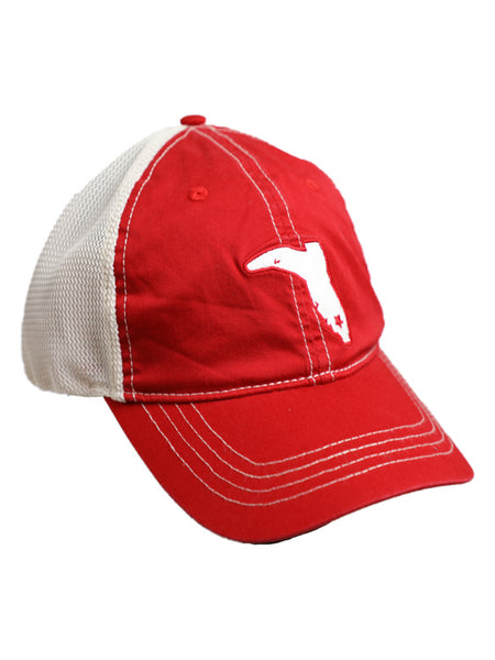 LADIES' PONYTAIL RED AND IVORY VINTAGE TRUCKER SNAPBACK HAT
