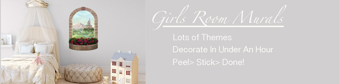 Beautiful Girls Murals  Design Fun Girls Rooms With Large Removable Girls  Bedroom Murals U0026 Wall Decals In Lots Of Themes U0026 Ideas.