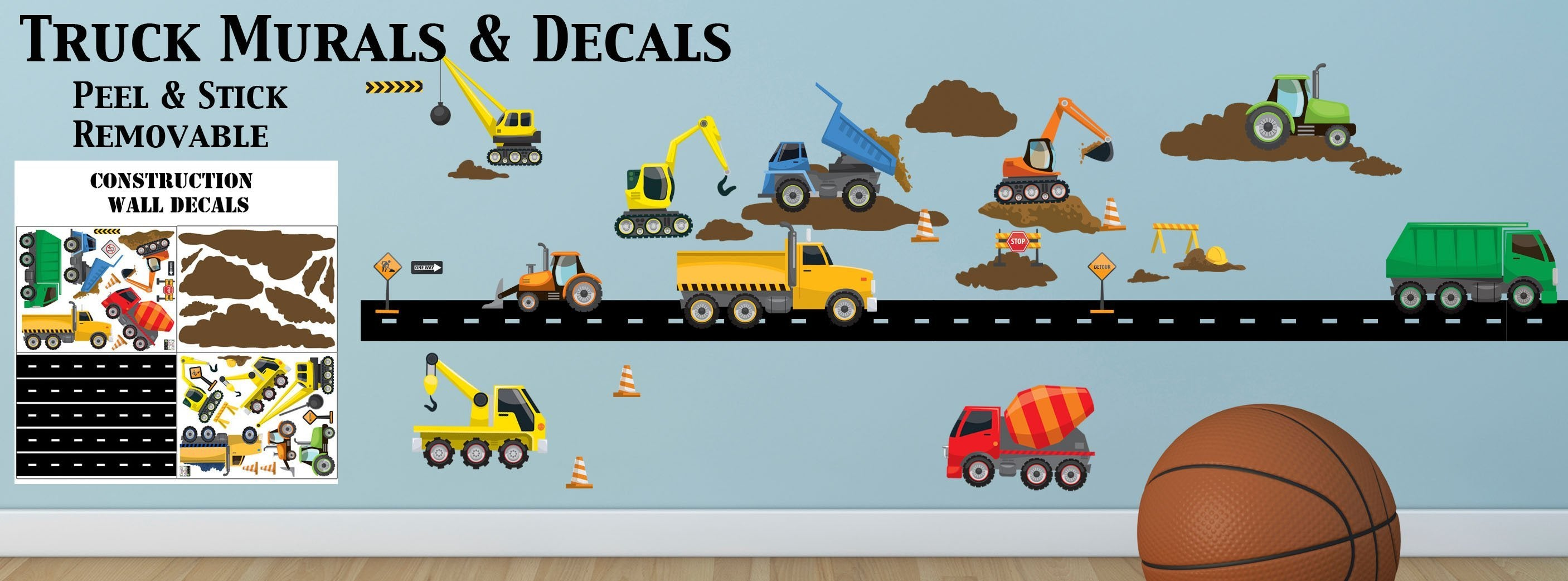 Truck Wall Decals Construction Murals Boys Room Theme Decor Ideas