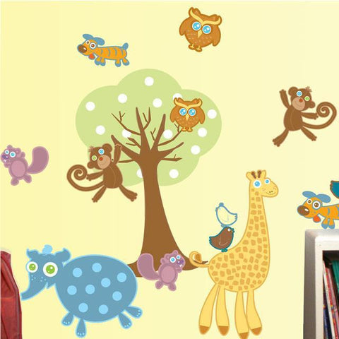 Baby Zoo Animal Wall Decals -Baby Wall Stickers - Kids Room Mural Wall Decals