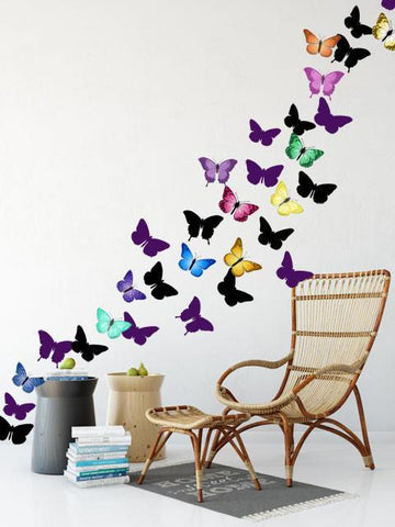 Artsy Butterfly Decor Wall Decals (30 stickers) - Kids Room Mural Wall Decals