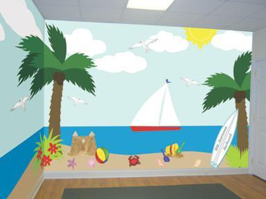 Beach Adventures Classroom Mural -Kids Room Mural - Kids Room Mural Wall Decals