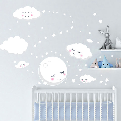 Sleeping Moon Clouds & Stars Room Decals - Kids Room Mural Wall Decals