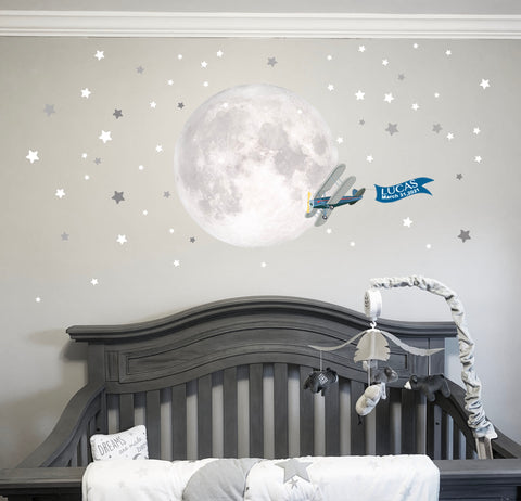 Moon, Stars and Plane Baby Nursery Mural