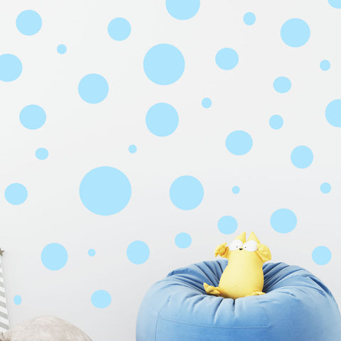 Polka Dot Wall Decals- Light Blue Wall Dot Stickers - Create-A-Mural