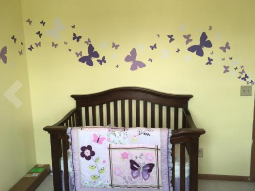 ... Butterfly Wall Stickers Purple Lilac U0026 White  Girls Wall Decals    Create A  ...
