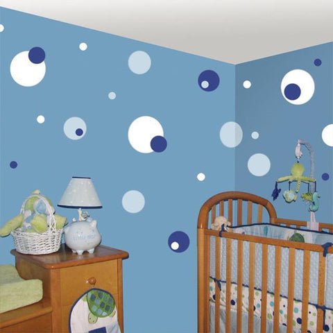 Polka Dot Wall Decals-Blue, Baby Blue & White