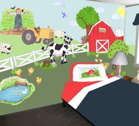 Barnyard Mural Kit -Kids Room Wall Mural - Kids Room Mural Wall Decals