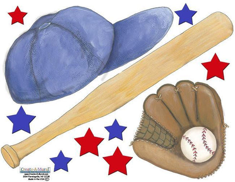 Baseball Sports Wall Stickers -Boys Wall Decals - Kids Room Mural Wall Decals