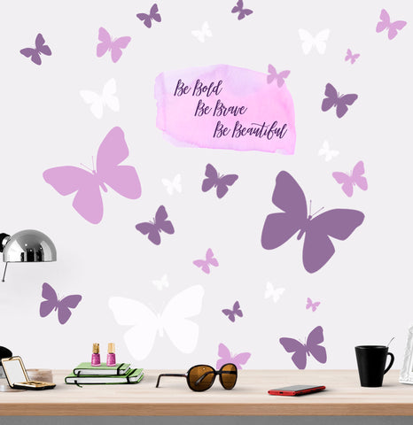 Be Bold, Be Brave, Be Beautiful Butterfly Wall Decals - Kids Room Mural Wall Decals
