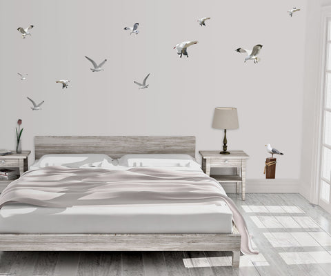 Flock of Seagulls & Seagull on Post Beach Wall Decals