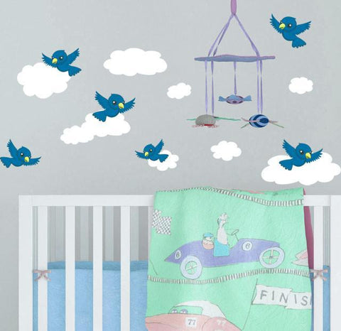 Bird & Cloud Wall Decals -Kids Wall Stickers - Kids Room Mural Wall Decals