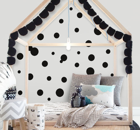 Black Polka Dot Wall Decals (63) Wall Dot Wall Stickers - Kids Room Mural Wall Decals