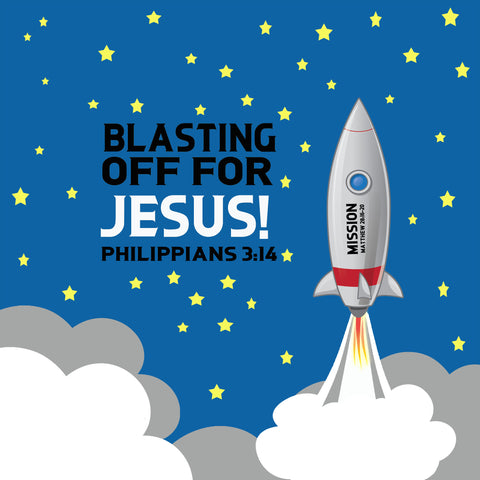 Blast Off For Jesus Church Mural - Kids Room Mural Wall Decals
