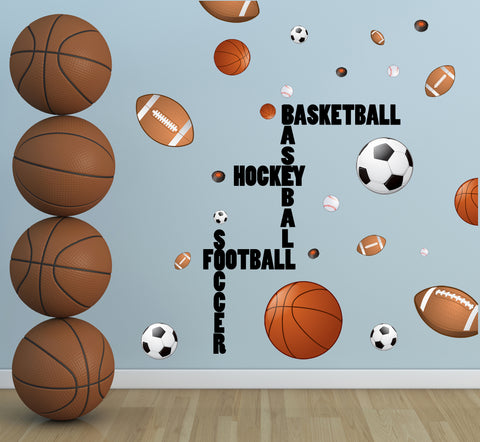 Sports Boys Wall Decal ~ Football Basketball Soccer Baseball - Kids Room Mural Wall Decals