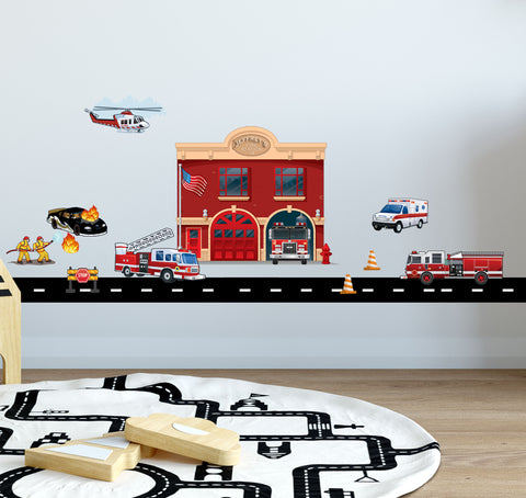Fire Station w/ Truck Wall Decals - Kids Room Mural Wall Decals