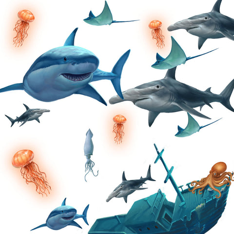 Shark Wall Decals - Kids Room Mural Wall Decals