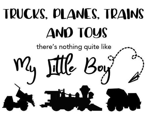 Boys Wall Decals Trucks Trains Quote - Kids Room Mural Wall Decals